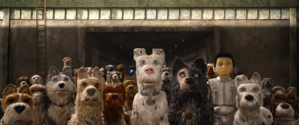 "(From L-R): Bill Murray as ""Boss,"" Jeff Goldblum as ""Duke,"" Edward Norton as ""Rex,"" Bob Balaban as ""King,"" Liev Shreiber as ""Spots,"" Harvey Keitel as ""Gondo,"" Koyu Rankin as ""Atari Kobayashi"" and Bryan Cranston as ""Chief"" in the film ISLE OF DOGS."